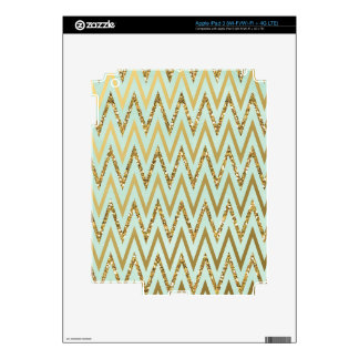 Mint & Gold Chevron Design iPad 3 Decal