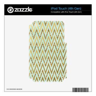 Mint & Gold Chevron iPod Touch Skin