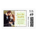 Mint Gold Confetti Photo Save the Date Stamps