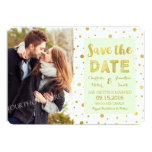 Mint Gold Confetti Wedding Photo Save the Date Card