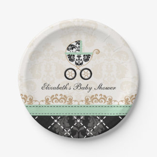 Mint Gold Damask Carriage Baby Shower Paper Plate