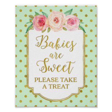 Art Themed Mint Gold Dots Babies are Sweet Favors Sign