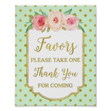 Art Themed Mint Gold Dots Blush Floral Favors Sign
