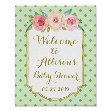 Art Themed Mint Gold Dots Custom Welcome Sign
