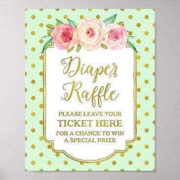 Art Themed Mint Gold Dots Diaper Raffle Sign