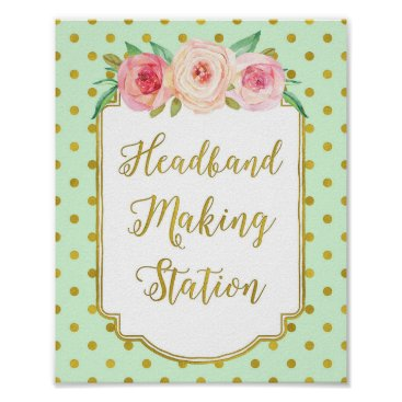 Art Themed Mint Gold Dots Headband Making Station Sign