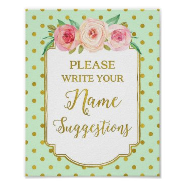 Art Themed Mint Gold Dots Name Suggestions Sign