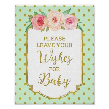 Art Themed Mint Gold Dots Wishes for Baby Sign