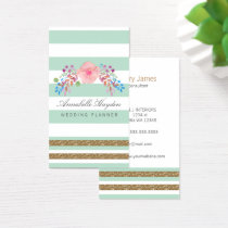 mint gold floral business cards