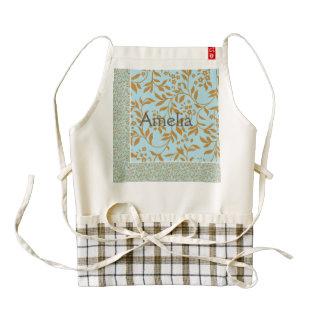 mint,gold,floral,pattern,trendy,modern,elegant,fun zazzle HEART apron