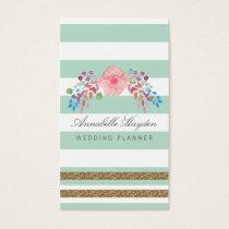 mint gold floral wedding planner business cards