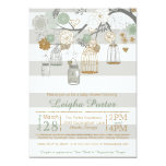 Mint Gold Glitter Baby Shower Mason Jar Bird Cages 5x7 Paper Invitation Card