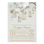 Mint Gold Glitter Bridal Shower Mason Jars Cages 5x7 Paper Invitation Card