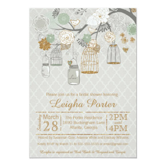 Mint Gold Glitter Bridal Shower Mason Jars Cages Card