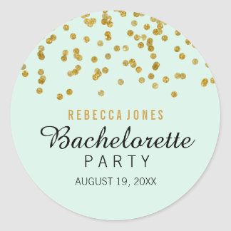 Mint Gold Glitter confetti Bachelorette Sticker