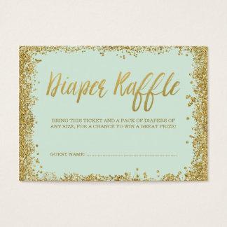 Mint Gold Glitter Diaper Raffle Ticket