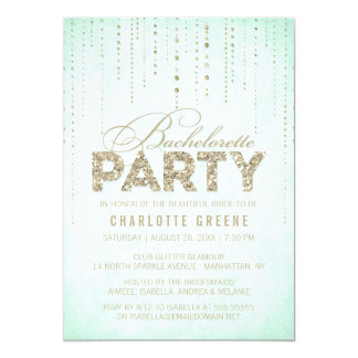 Mint & Gold Glitter Look Bachelorette Party Card
