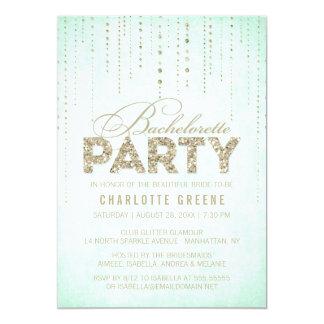 Mint & Gold Glitter Look Bachelorette Party Card