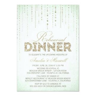 Mint & Gold Glitter Look Rehearsal Dinner Card