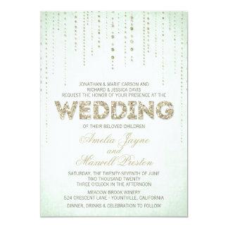 Mint & Gold Glitter Look Wedding Invitation