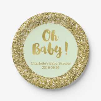 Mint Gold Glitter Oh Baby Baby Shower Plate
