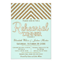 mint gold glitter rehearsal dinner invites