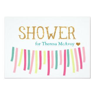 Mint Gold Green Ribbon Banner Shower Invitation