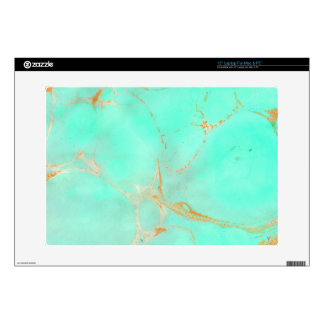 """Mint & Gold Marble Abstract Aqua Teal Painted Look 15"""" Laptop Skins"""