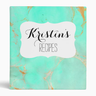 Mint & Gold Marble Abstract Aqua Teal Painted Look 3 Ring Binder