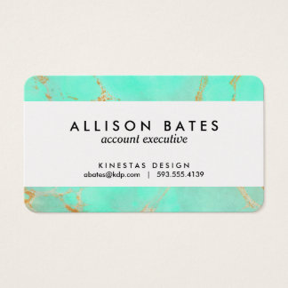 Mint & Gold Marble Abstract Aqua Teal Painted Look Business Card
