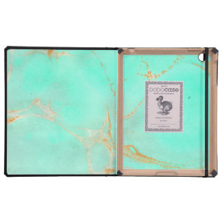 Mint & Gold Marble Abstract Aqua Teal Painted Look iPad Folio Case