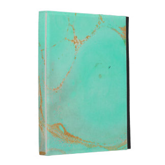 Mint & Gold Marble Abstract Aqua Teal Painted Look iPad Case
