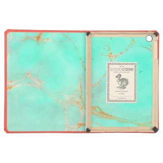 Mint & Gold Marble Abstract Aqua Teal Painted Look iPad Air Covers