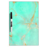 Mint & Gold Marble Abstract Aqua Teal Painted Look Dry-Erase Board