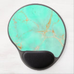 Mint & Gold Marble Abstract Aqua Teal Painted Look Gel Mouse Pad