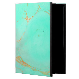 Mint & Gold Marble Abstract Aqua Teal Painted Look iPad Air Cases