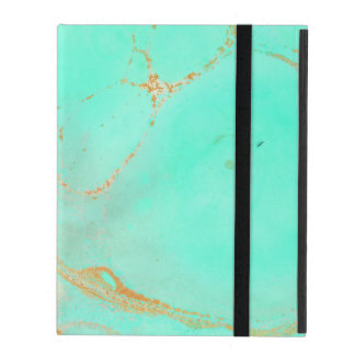 Mint & Gold Marble Abstract Aqua Teal Painted Look iPad Cover