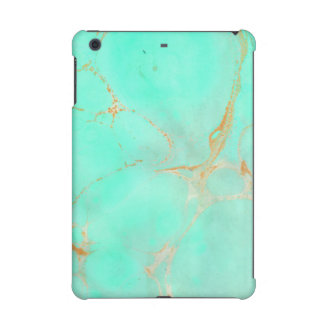 Mint & Gold Marble Abstract Aqua Teal Painted Look iPad Mini Case