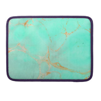 Mint & Gold Marble Abstract Aqua Teal Painted Look Sleeve For MacBooks
