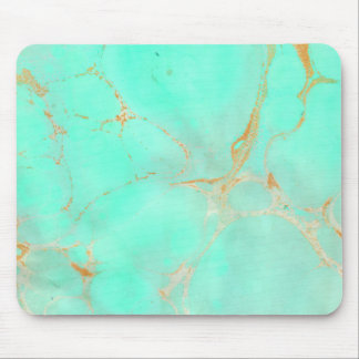 Mint & Gold Marble Abstract Aqua Teal Painted Look Mouse Pad