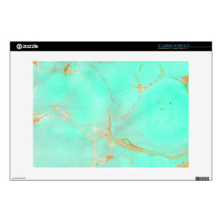 Mint & Gold Marble Abstract Aqua Teal Painted Look Skin For Laptop