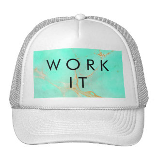 Mint & Gold Marble Abstract Aqua Teal Painted Look Trucker Hat