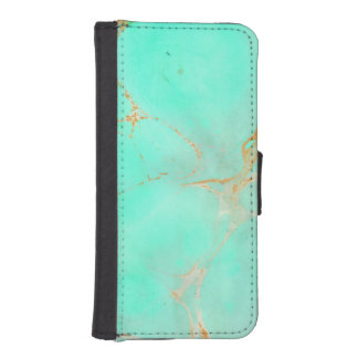 Mint & Gold Marble Abstract Aqua Teal Painted Look Wallet Phone Case For iPhone SE/5/5s