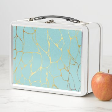 Wedding Themed mint,gold,marbled,modern,trendy,chic,beautiful,ele metal lunch box