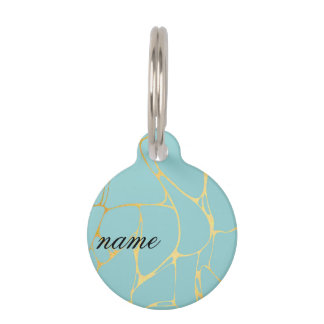 mint,gold,marbled,modern,trendy,chic,beautiful,ele pet name tag