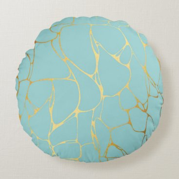 Wedding Themed mint,gold,marbled,modern,trendy,chic,beautiful,ele round pillow