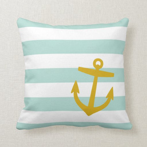 Mint & Gold Nautical Stripes and Cute Anchor Pillow Zazzle