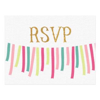 Mint Gold Pink Ribbon Banner RSVP Card