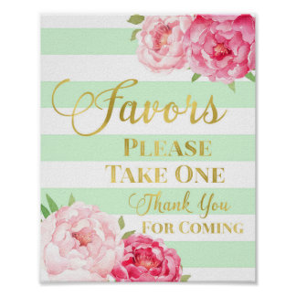 Mint Gold Pink Watercolor Floral Favors Sign