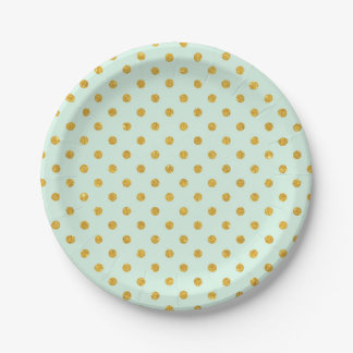 Mint,gold polka dot,trendy,girly,pattern,cute,fun, 7 inch paper plate